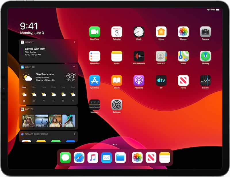 iPadOS showing Dark Mode and something more than apps on the home screen.