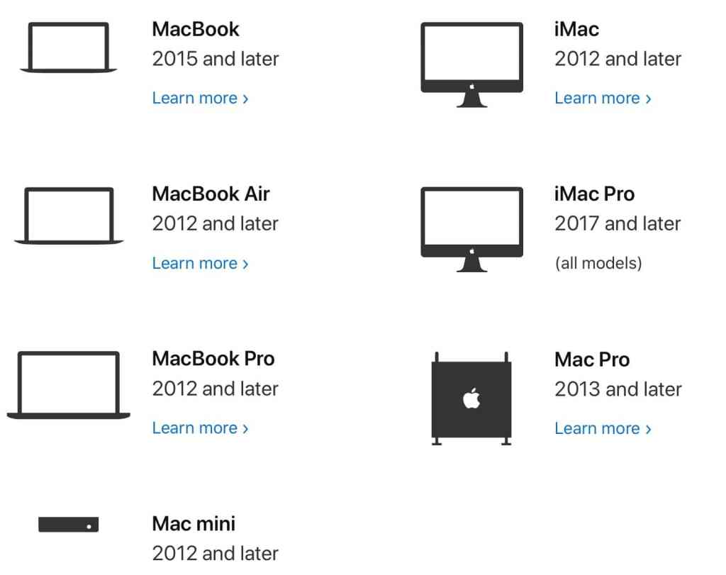 Macs compatible with macOS Catalina, from Apple's website.