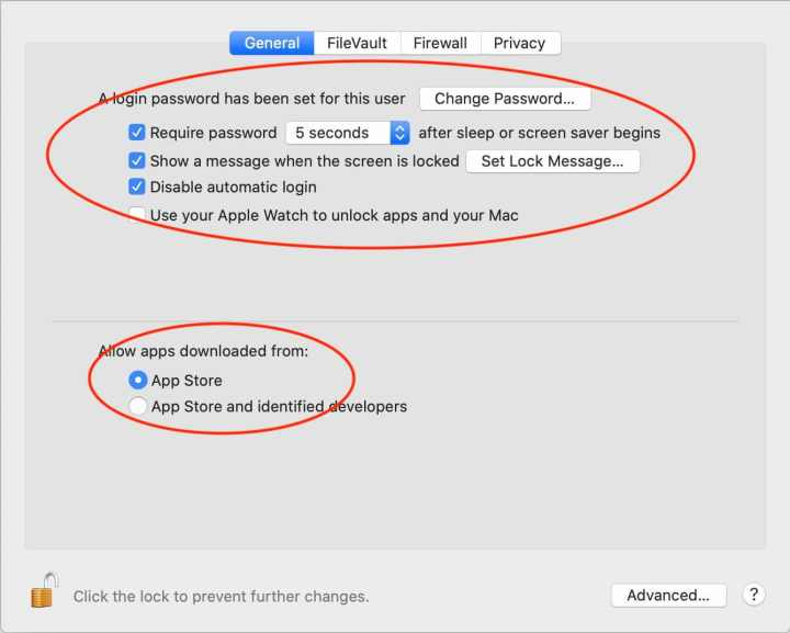 Set your general preferences as shown. If you have an Apple Watch, you can also check the box for allowing your Apple Watch to unlock your Mac.