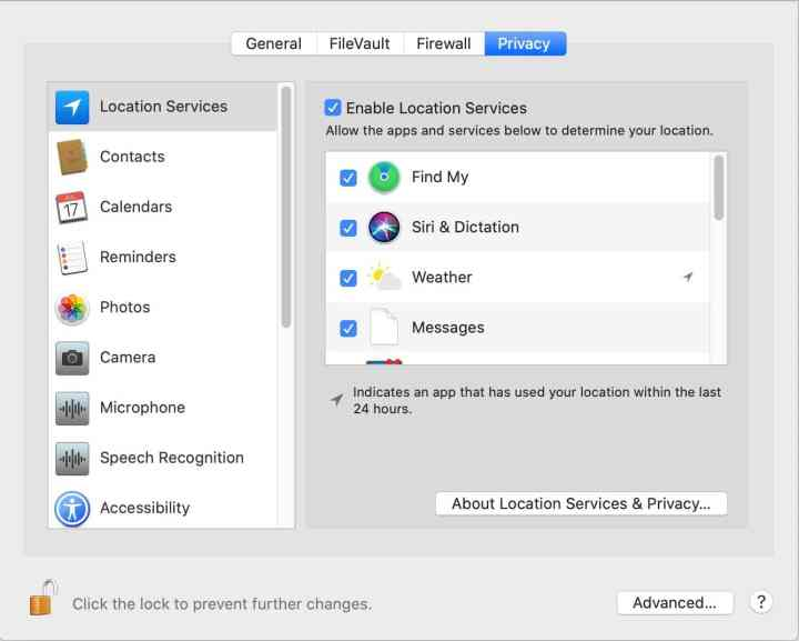The security tab Privacy settings are complex, and allow you to approve or deny applications access to basic macOS capabilities.